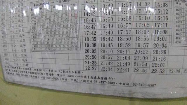平渓天燈節が終わって電車は何時まであるの?