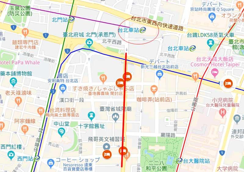 台北観光に便利な立地の格安ホテルが集まる場所